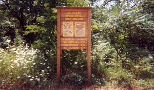 Distance sign at Deep Hollow Trail Head