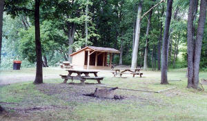 The Lower Two Mile Run Campsite with a couple shelters is located about 1 mile south of Franklin.