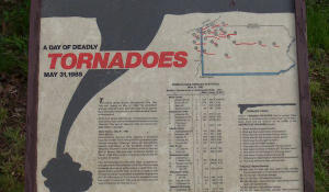A tornado ripped through part of the trail in 1985 and this is one of the signs telling about that day