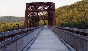 Ride across the Allegheny River on the 1385 foot long Belmar Bridge.