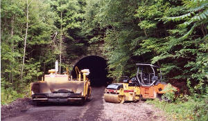 Getting the trail ready to pave through the 2868 foot long Rockland Tunnel that is 21 miles south of Franklin.