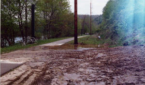 Mud slide on the Allegheny River Trail.